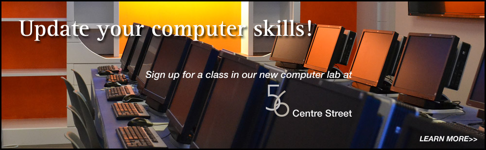 Computer skills courses offered in the computer lab located at 56 Centre St, Nantucket